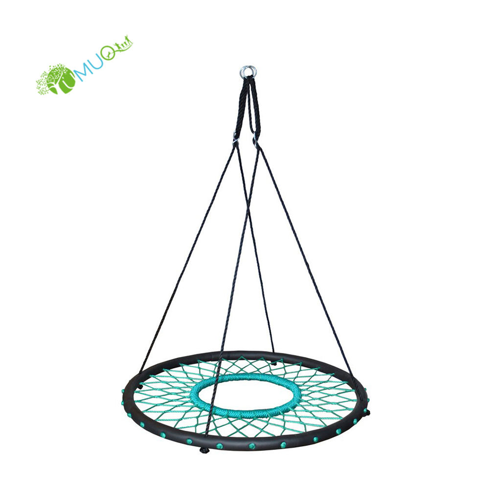 "YumuQ 40"" Round Saucer Outdoor Children Kids Net Spider Wed Tree Swing for Kids"