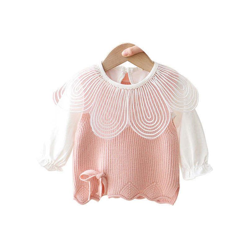 Новые весенние милые детские свитера в Корейском стиле с воротником и лепестками для маленьких девочек