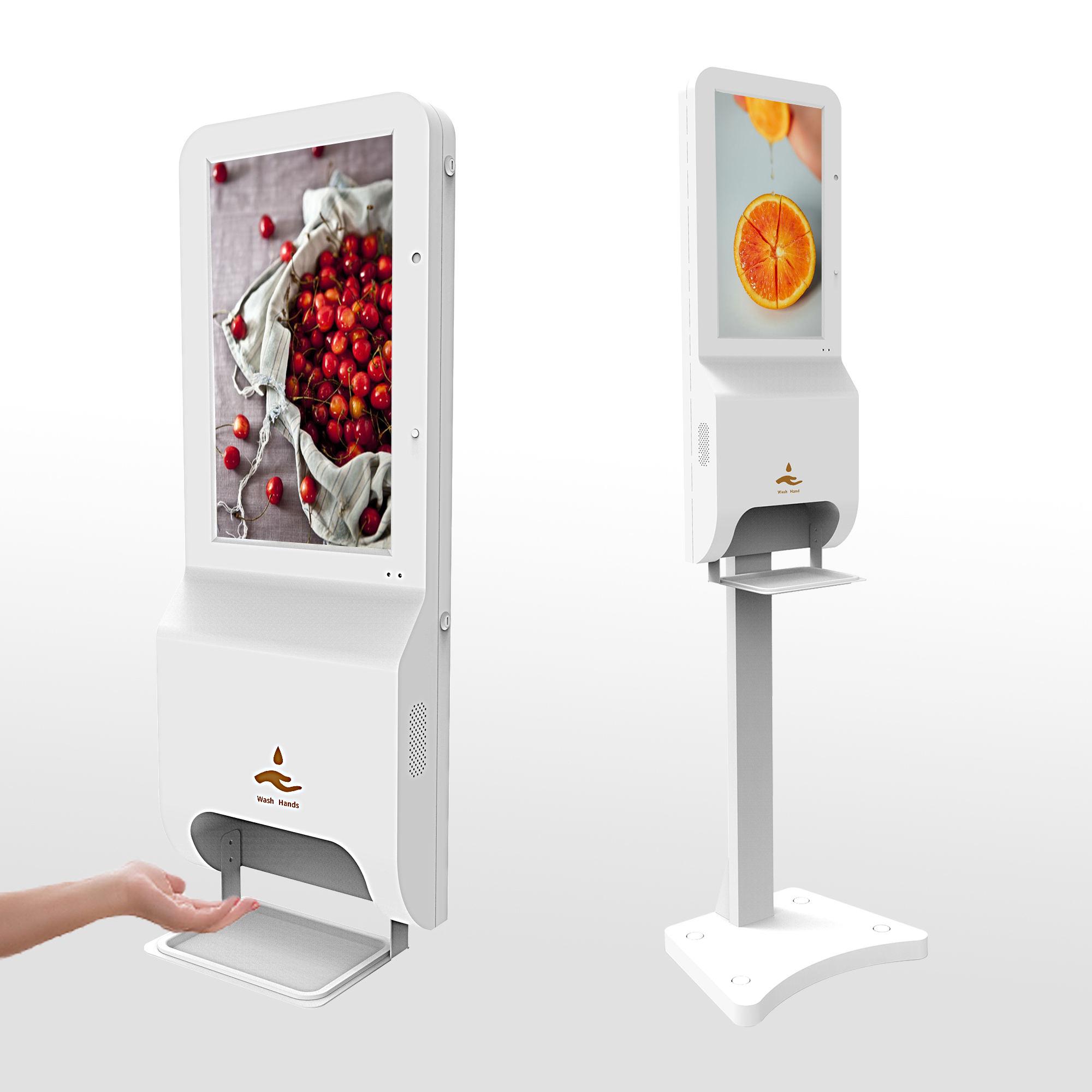Digital advertising player desinfecting floor alcohol sanitizing gel dispenser for hands infrared automatic hand sanitizer kiosk