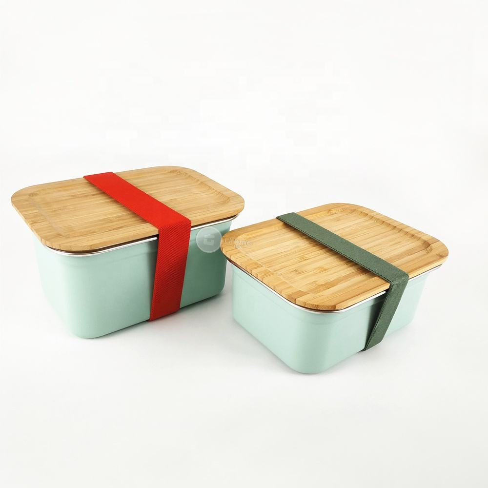 2020 Hot sale green Bento school food container 400ml Small Stainless Steel storage box bamboo lid Lunch Box