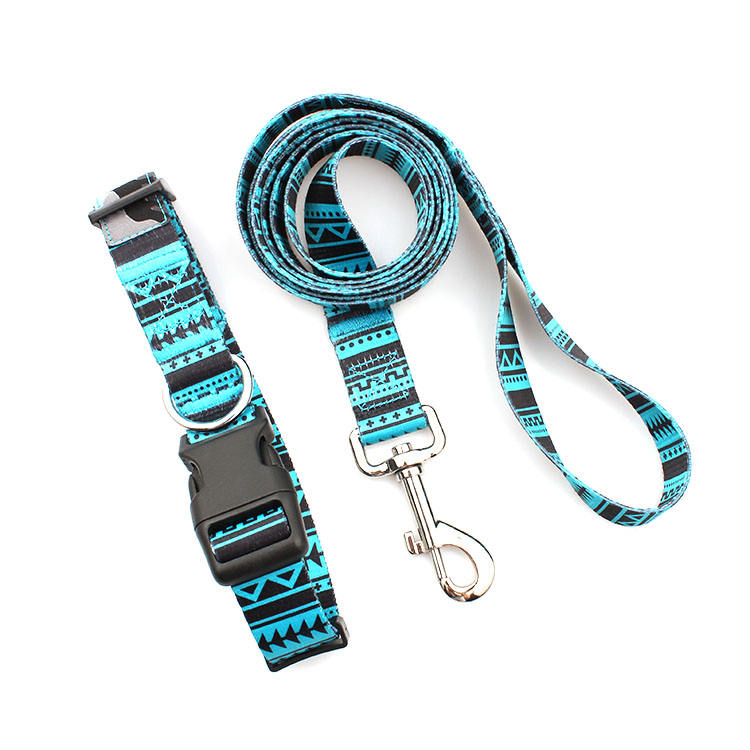 Factory Price Custom Soft Polyester Adjustable Pet Leash and Collar Set for Dog