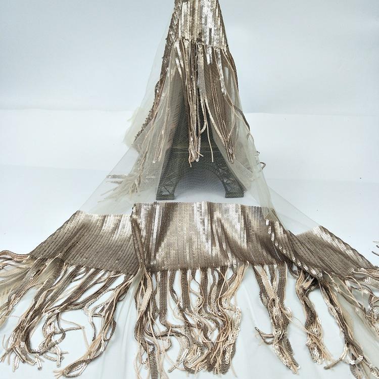 Tejido de encaje de Chantilly francés encaje lentejuelas con flecos brillo tela de encaje de malla de oro