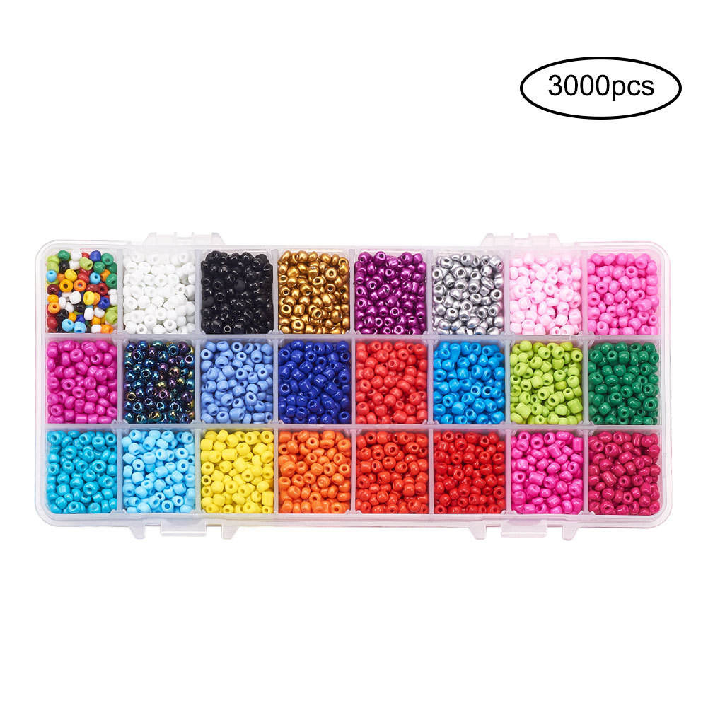 24 Color Glass Bead Set Handmade Bracelet Beaded Material DIY Seed Beads Jewelry Accessories