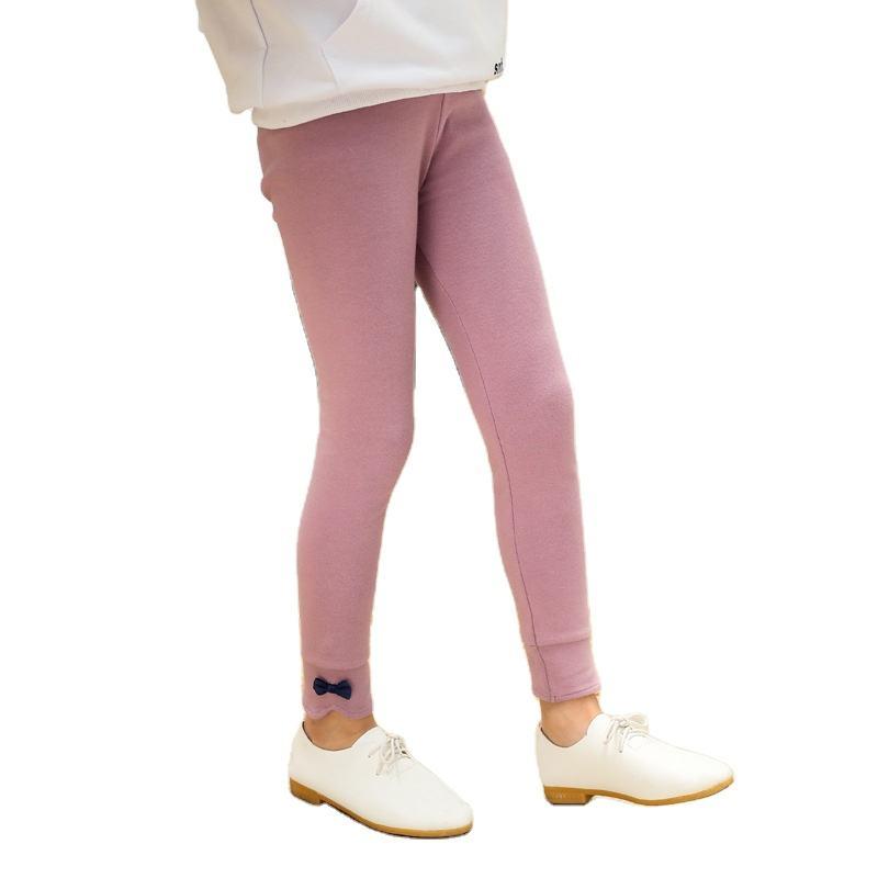 Новинка, осенне-зимние детские колготки, штаны, украшенные бантом, хлопковые леггинсы для маленьких девочек, для детей