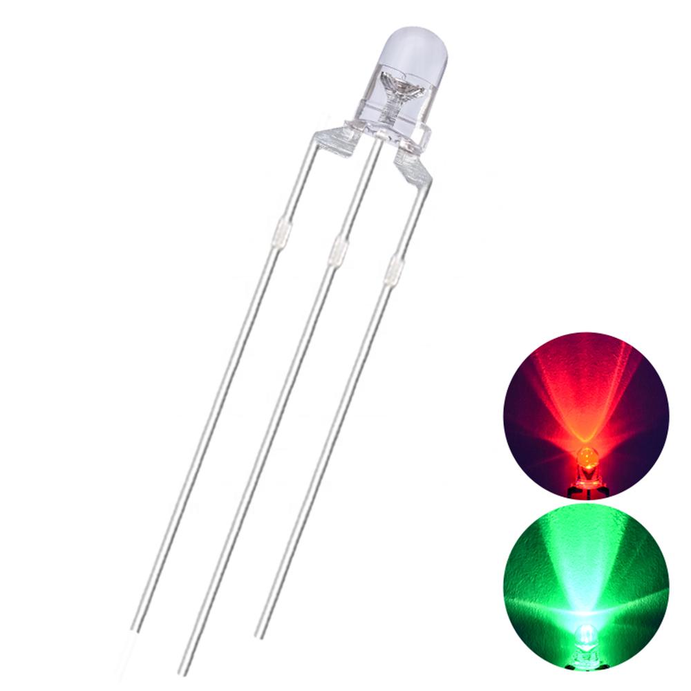 3 мм двойной цвет общий анод 3 ноги прозрачный Биколор светодиод красный + зеленый диод