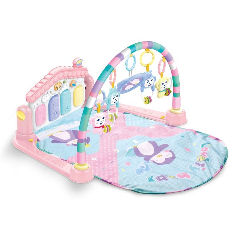 New arrival pink color baby mat play gym piano with light and music