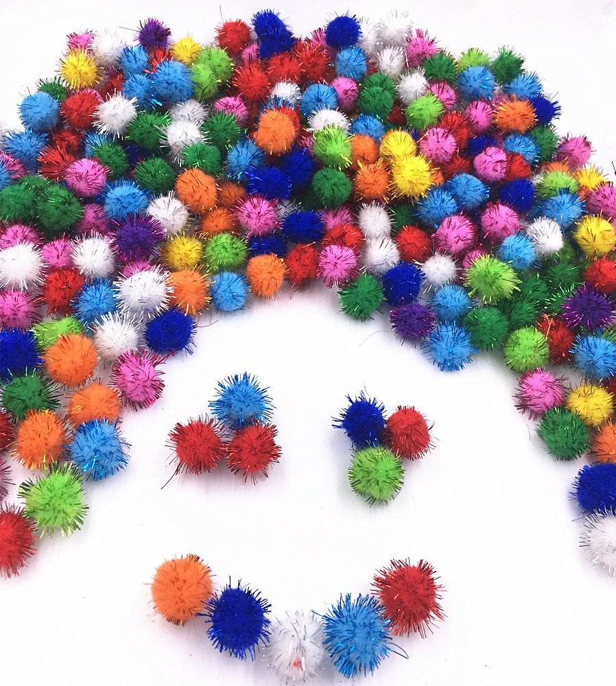 Assorted Color 30mm with Glitter Pompon Sparkle Balls Cat's Favorite Toy Tinsel Pom Poms Glitter for Arts Craft