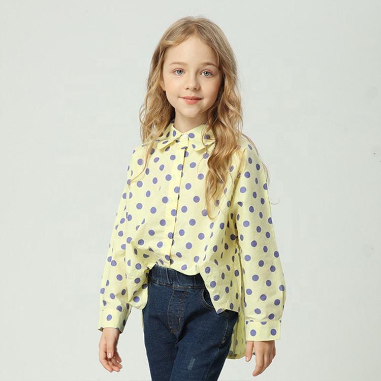 Осенние Топы в европейском стиле: рубашка с узором в горошек для девочек Одежда для детей 8 лет
