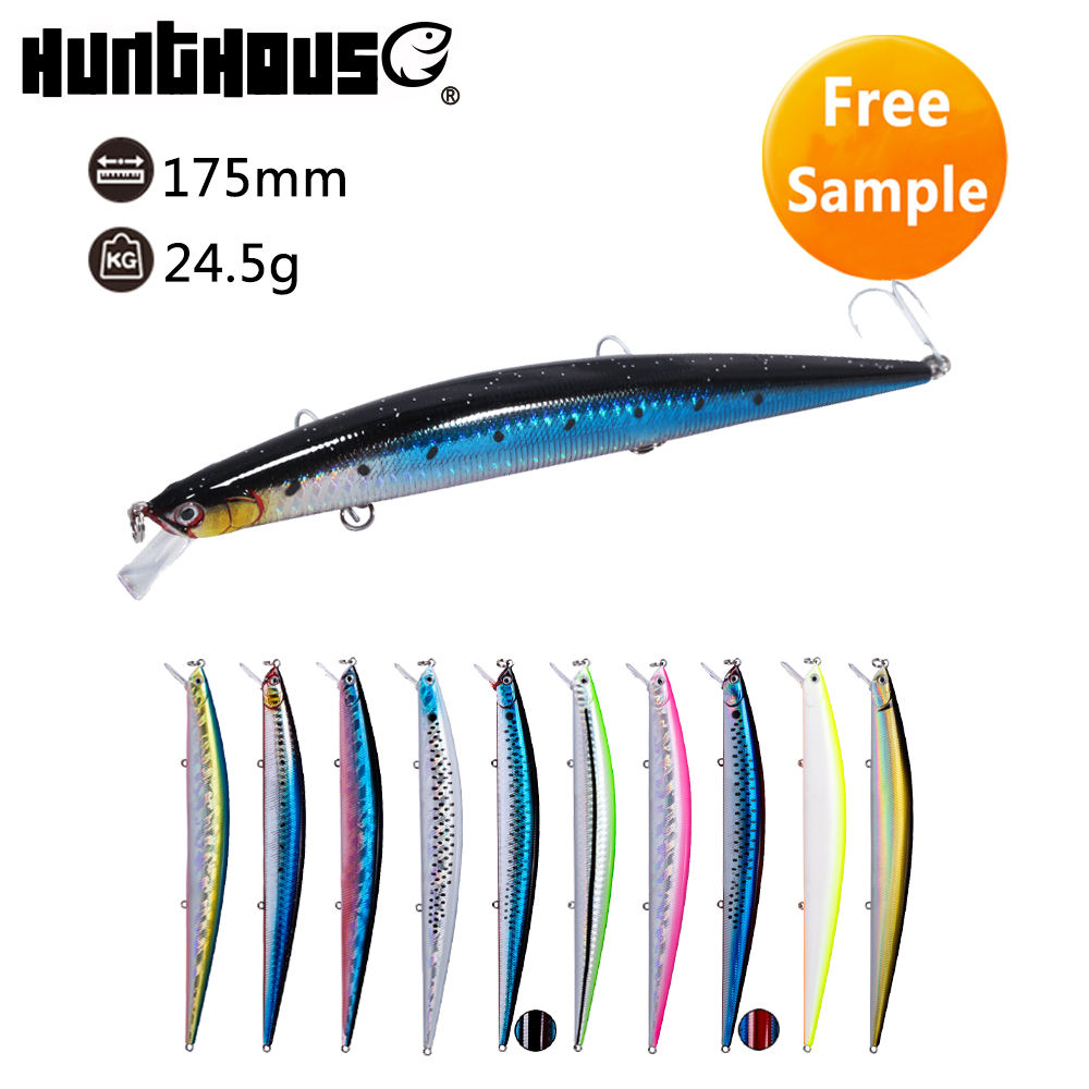 Hunthouse free sample deep diver saltwater swimming slim minnow hard lure