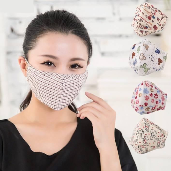 MANTENERE UNA PERFETTA Per Bambini in cotone viso Maskes con occhio shieldes e valvola di respirazione lavabile del fumetto di modo Maskes con pm2.5 filtro
