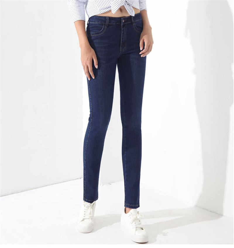 Pantalones vaqueros de cintura alta Mujer pantalones, pantalones de Denim Femme azul mamá pantalones vaqueros para las mujeres Stretch Skinny Jean Plus tamaño GAREMAY