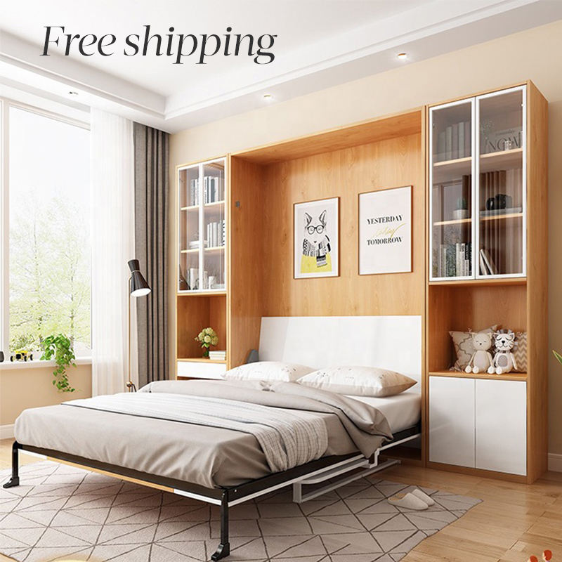 Hot Sale Furniture Set Folding Murphy Bed Folding Wall Bed With Desk And Bookshelf