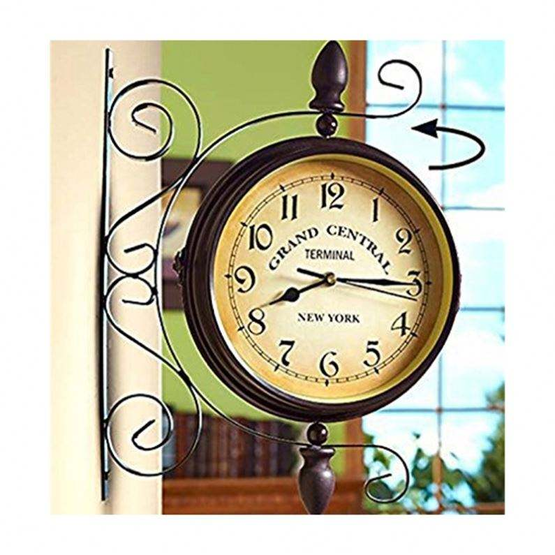 Wrought Iron Antique Brown Round Double Faced Clock Chandelier Wall Decor Hanging Clock