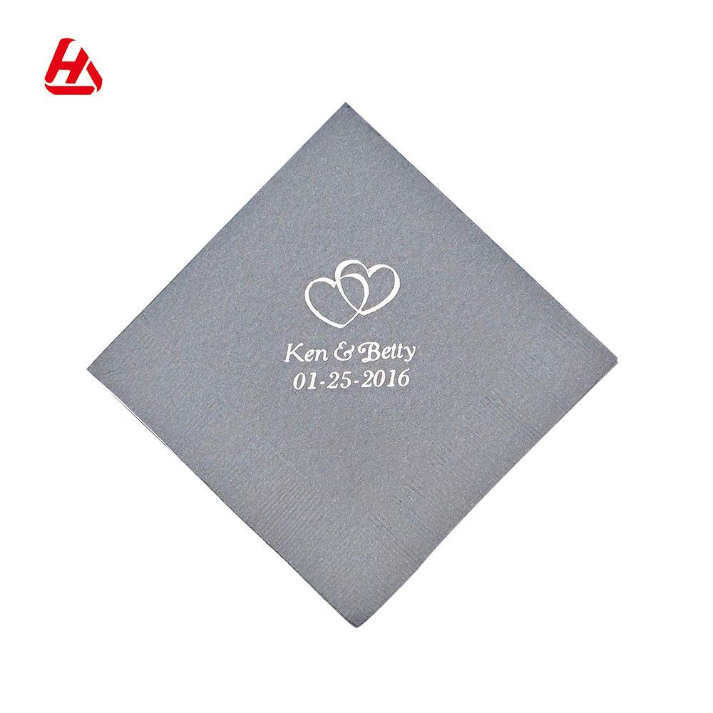 Fábrica de fabricación de servilletas de papel imprimir Grey servilleta de cóctel de boda de papel servilletas