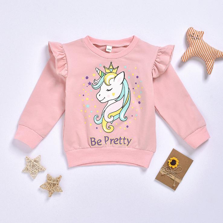 Девушки Бутик хлопок ткань o-образным вырезом толстовки Дети Единорог печатных пуловер Кофты