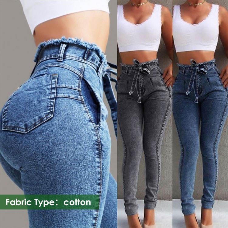 Jeans taille haute uni pour femmes, facile à assortir, couleur unie, 2020