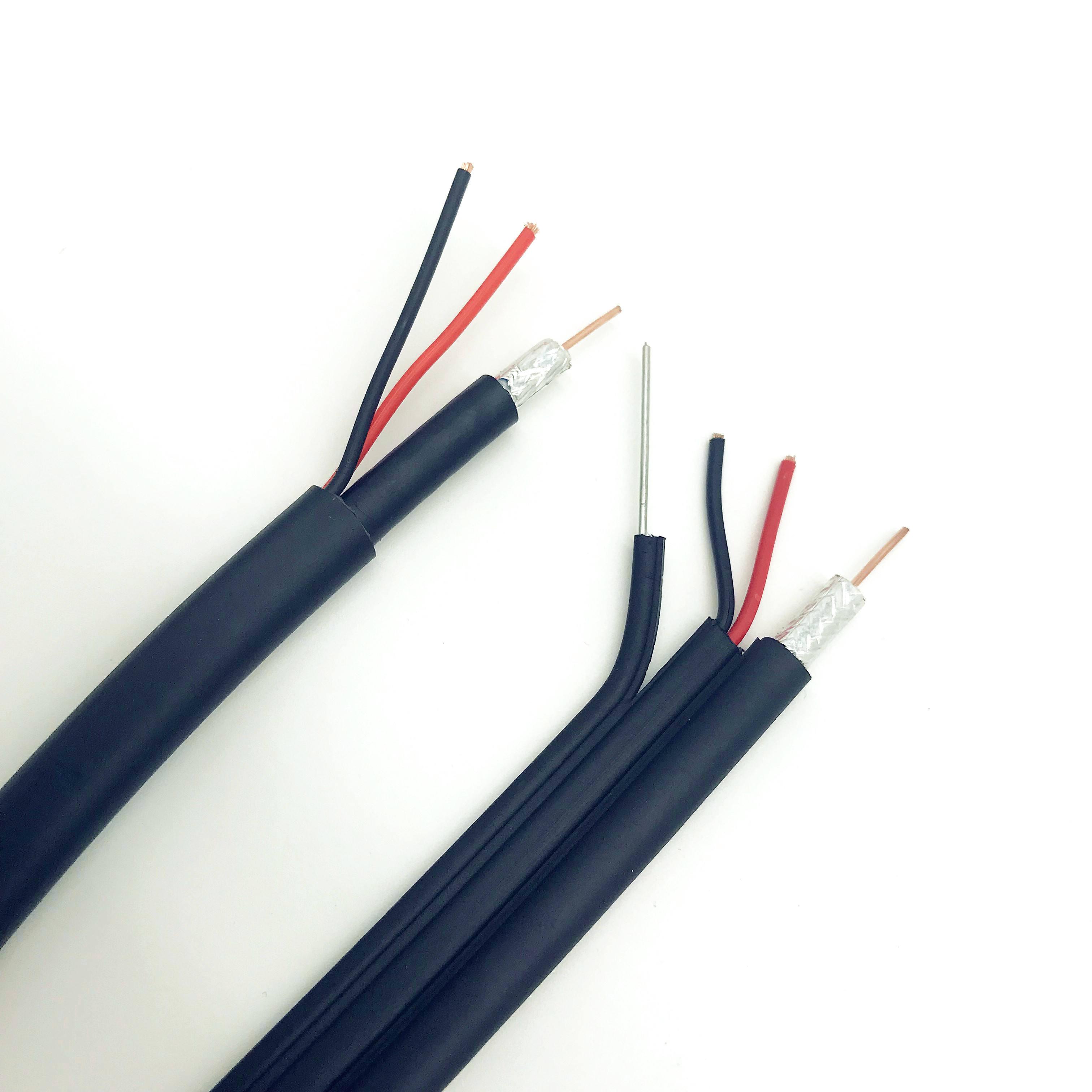 20m RG6 güç çelik 3 1 Cctv kablosu koaksiyel kablo kablosu kapalı devre kameralar kabloları Rg6