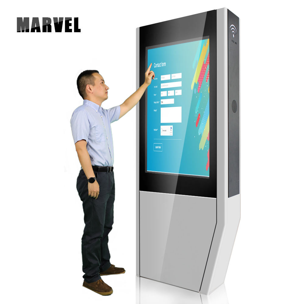 42 55 Inch Big Sun Enclosure Floor Stand Kiosk Advertising Panel Waterproof Screen Lcd Totem High Bright Monitor Outdoor Tv