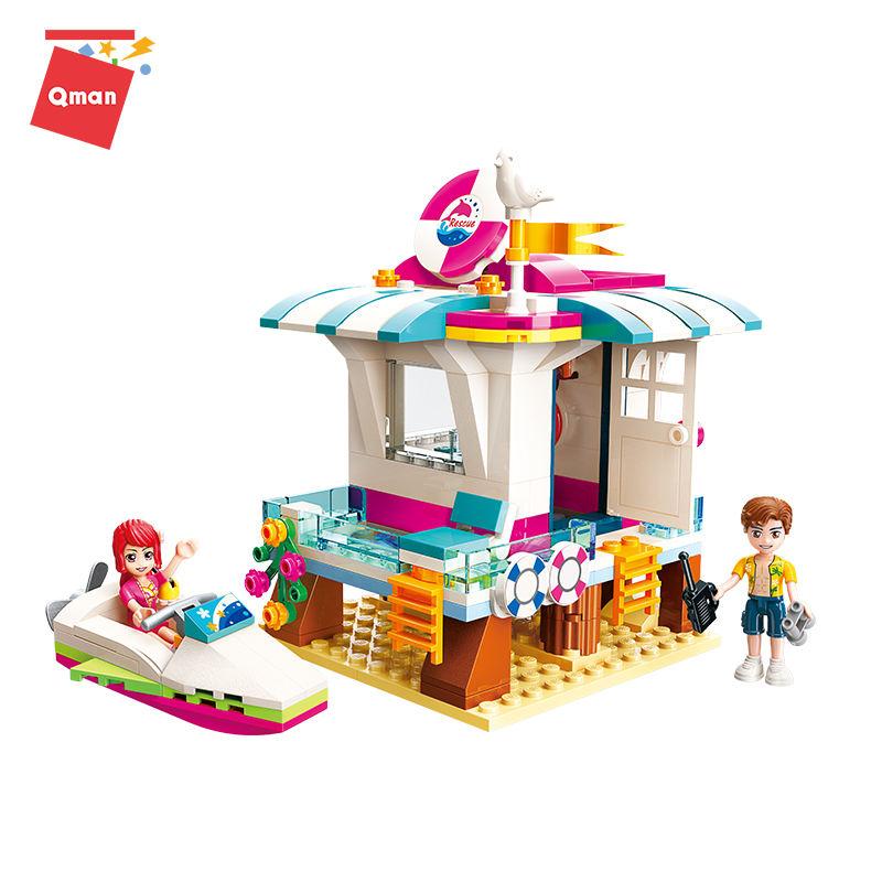 Qman Cereja Ponto Modelo Blocos de Construção Com uma lancha mar Praia Ajuda e life-saving aparelhos brinquedo de menina