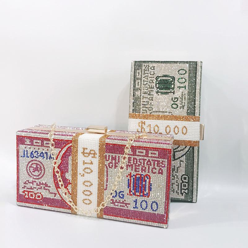 2020 venta bling 1000 dólares de dinero bolso de embrague de cristal bolso envío de diamantes de imitación dólares bill bolso de embrague de fiesta para las mujeres