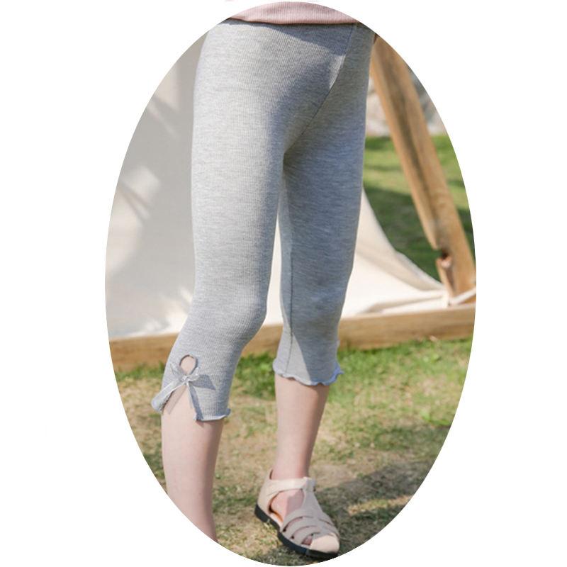 2021 летние детские укороченные штаны на заказ детские брюки с бантом леггинсы из бамбукового волокна в рубчик для девочек