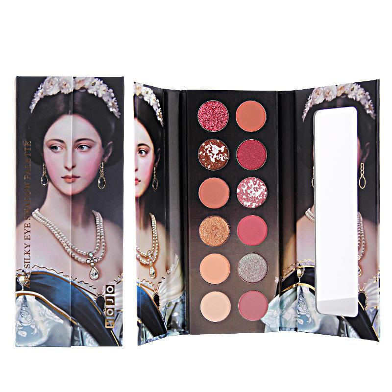 HOJO 12 Color Nude brillo paleta de sombra de ojos mate impermeable fácil de usar brillo pigmento sombra de ojos en