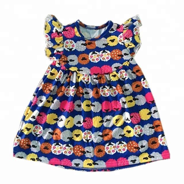 Повседневная одежда для маленьких девочек; блузка с рисунком овец; детская одежда; детская туника с цветочным принтом; топы
