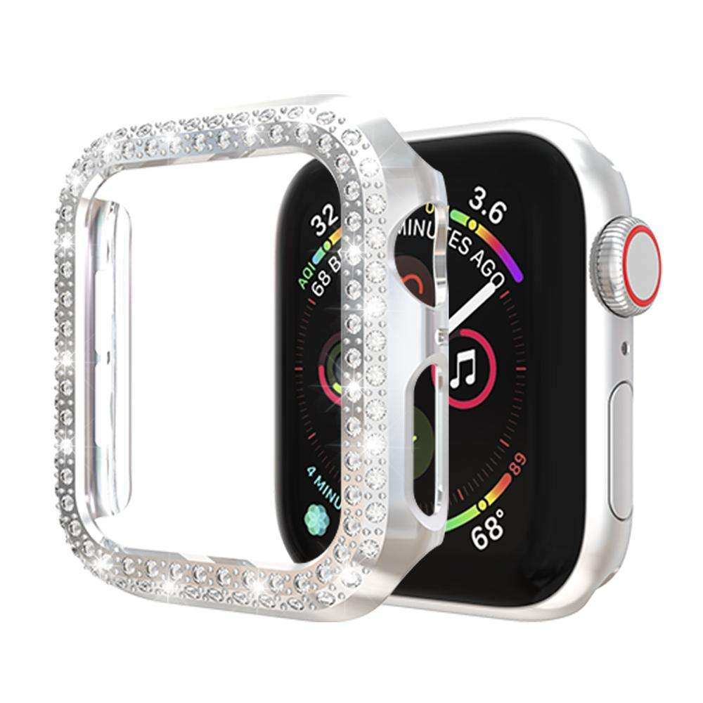 Double Diamond Bling Frame CaseためApple Watch Cover Series 4 38MM 42MM 40ミリメートル44ミリメートルProtector appleのiWatchシルバー