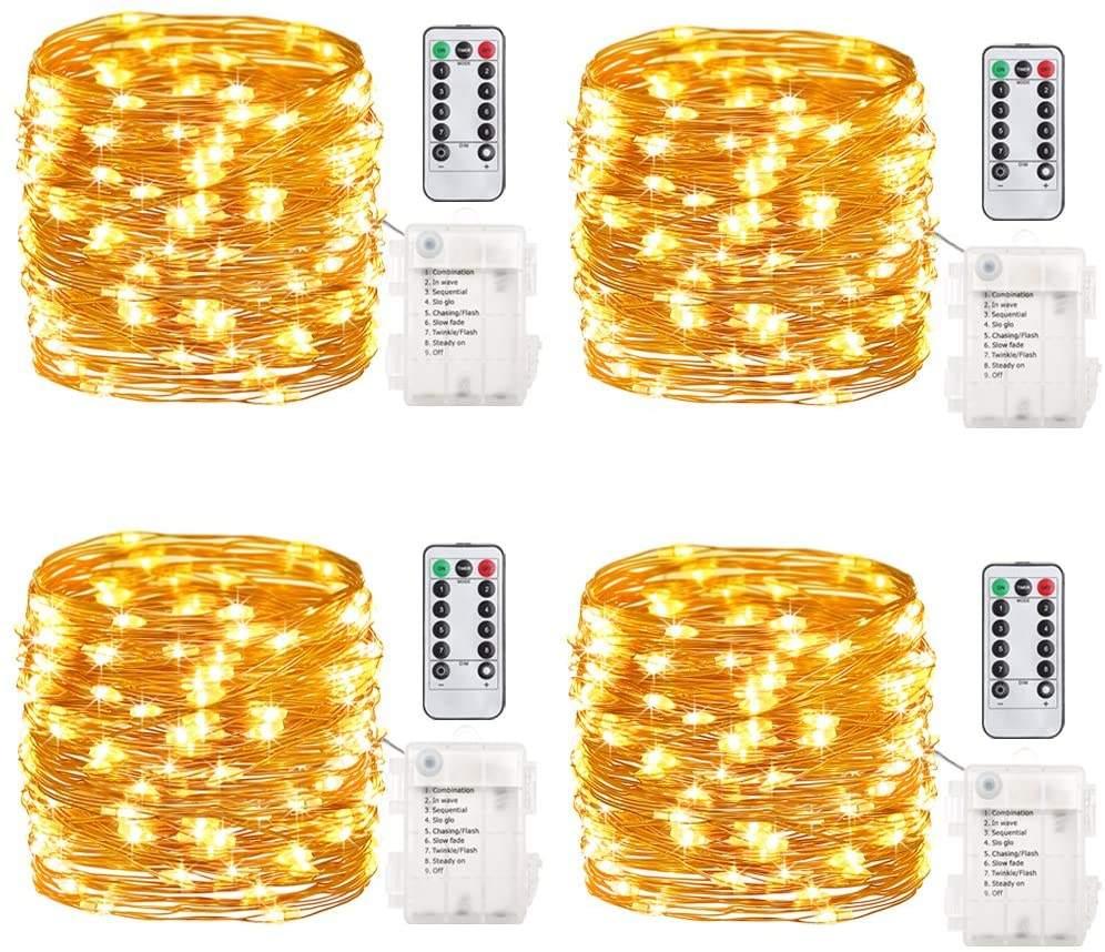 4 Gói 16.4 Feet 50 Led Tiên Lights <span class=keywords><strong>Pin</strong></span> Hoạt Động Với Điều Khiển Từ Xa Hẹn Giờ Đồng Không Thấm Nước Dây Twinkle Chuỗi Lights
