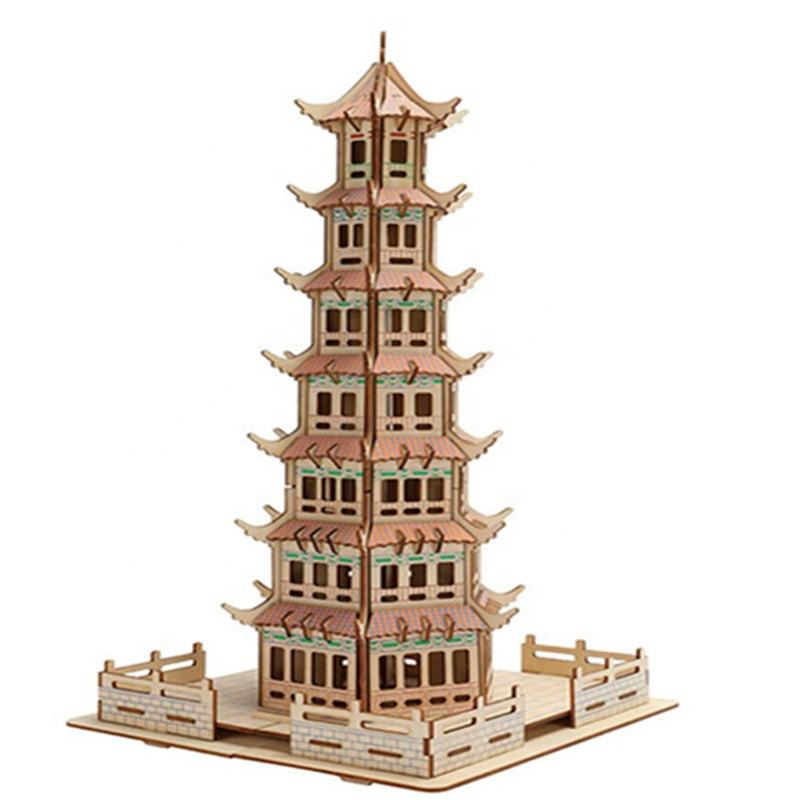 DIY Assembly Construction Wood Jigsaw Puzzle 3D Wooden Model Toy Kit Set Handmade Educational Woodcraft Kit for Kids