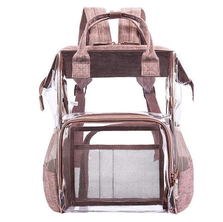 Multi-funcional de viaje impermeable mujeres bebé pañal transparente mochila mamá bolsa de pvc con aislamiento de bolsa