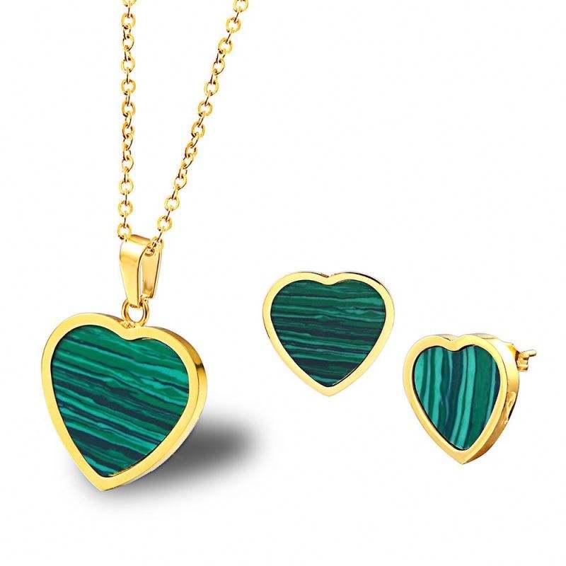 Lancui нержавеющая сталь комплект ювелирных изделий натуральный бирюзовый простой сердце цепочки и ожерелья серьги