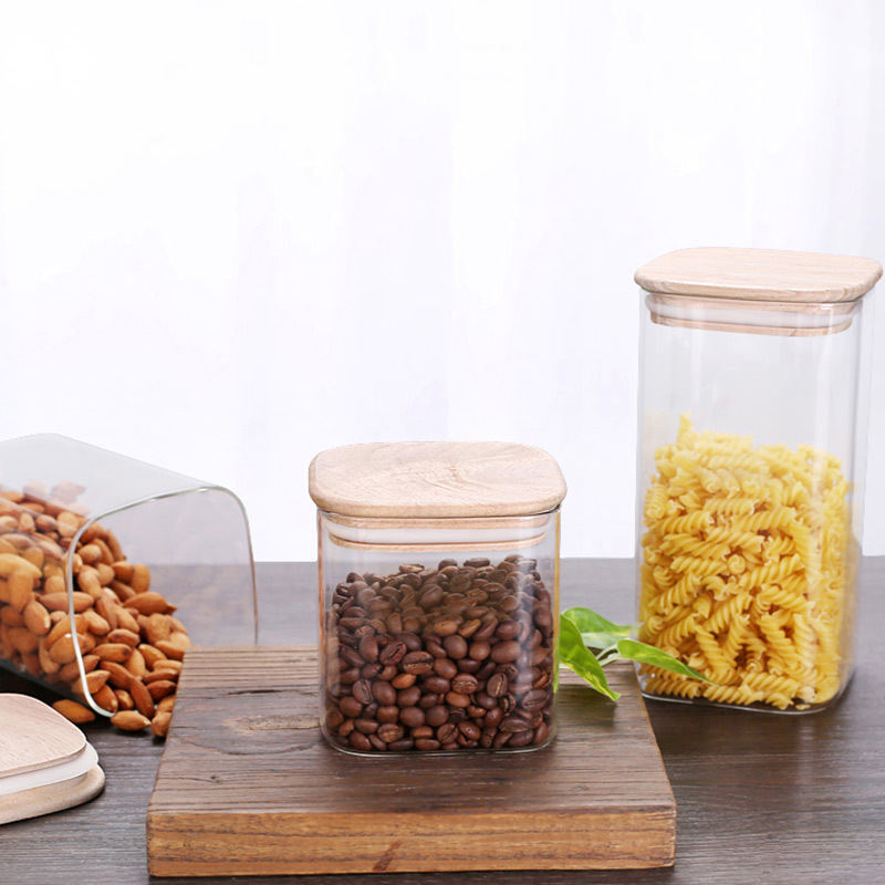 Kitchen Glassware Airtight Big Containers With Cover Square Clear Glass Storage Jar Bamboo Lid