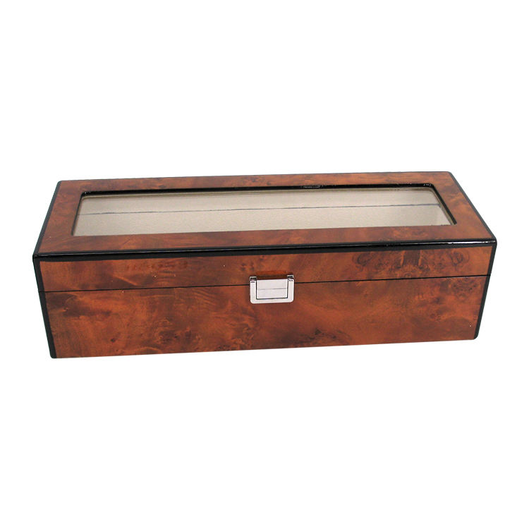 Custom wholesale luxury rectangular red wine wooden box with glass top