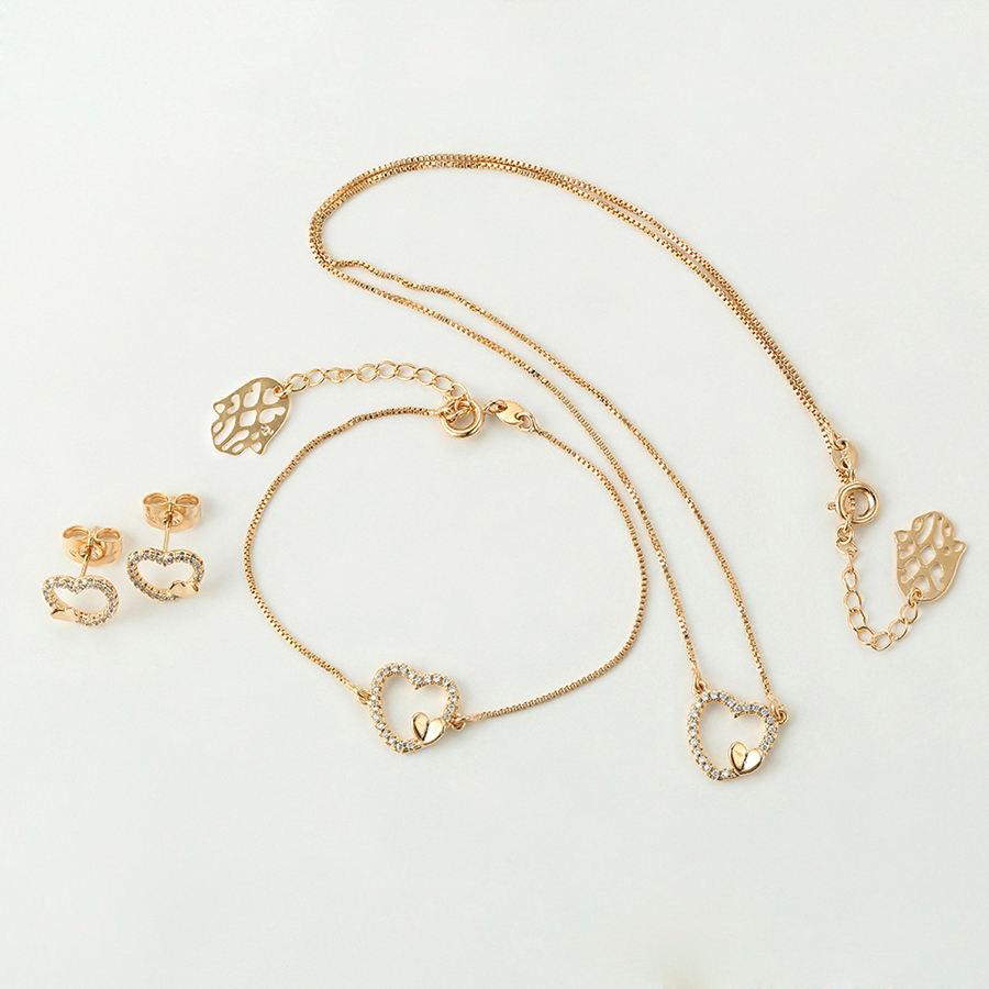 64941 Xuping Мода Дизайн 18 К золотого цвета в форме сердца из 3 предметов комплект ювелирных изделий