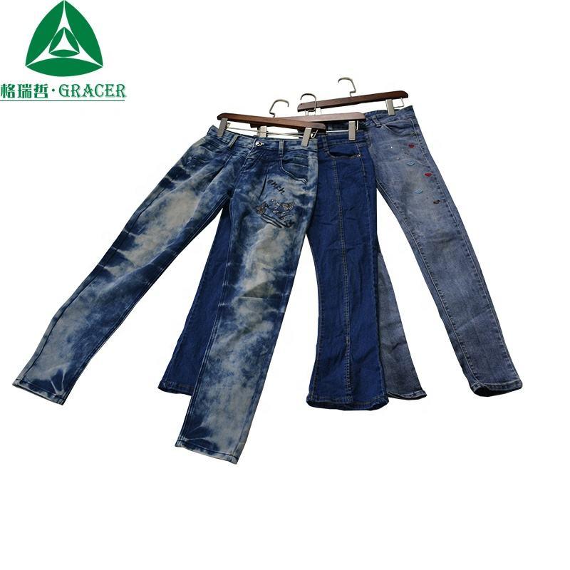 Les femmes ont utilisé des vêtements dommages jeans vêtements d'occasion en balles