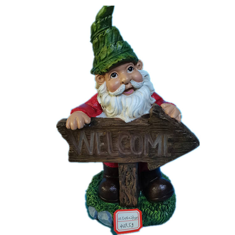 Polyresin/Resin Welcome Solar Powered LED Outdoor Decor Garden Gnome Statue 10 Inch Full Color