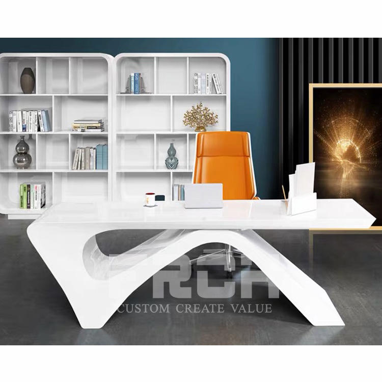 Wholesale Modern Design Curved Shape Executive Manager Office Furniture White Writing Desk Table