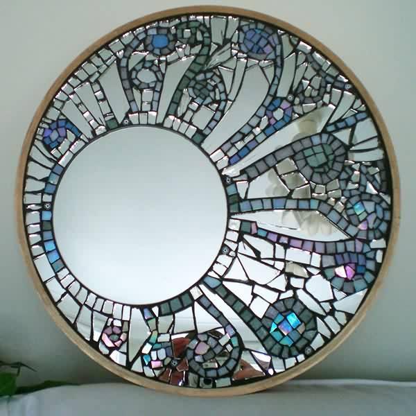 Norhs rustic design circle broken mirror pieces crafts crackle miroir decorative silver mosaic mirror for living room wall