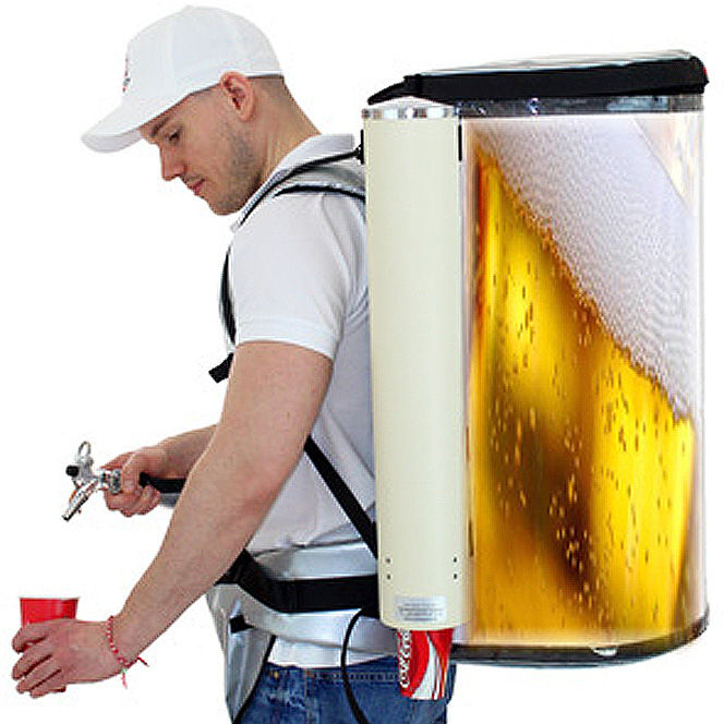 Backpack for Beer dispensing for 19 Liter Beer Cola Coffee - vendor vending seller hawker mobile portable