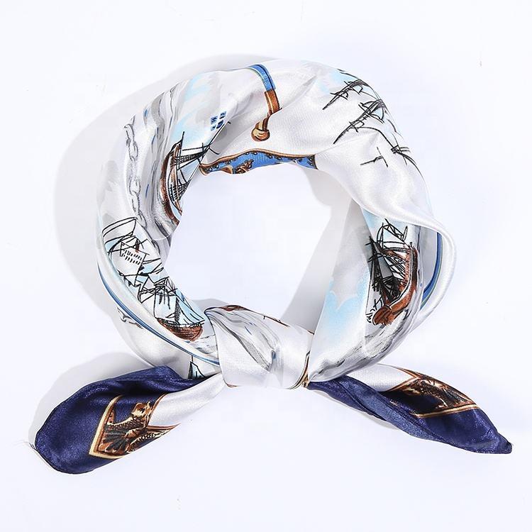 工場卸売fennysun 60 × 60 センチメートル正方形の絹のようなセーリング軍艦ボート髪とボンネット盛り合わせスカーフ制服バッグ