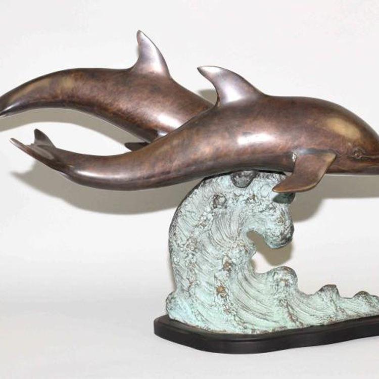En kaliteli bronz bakır metal yunus heykel