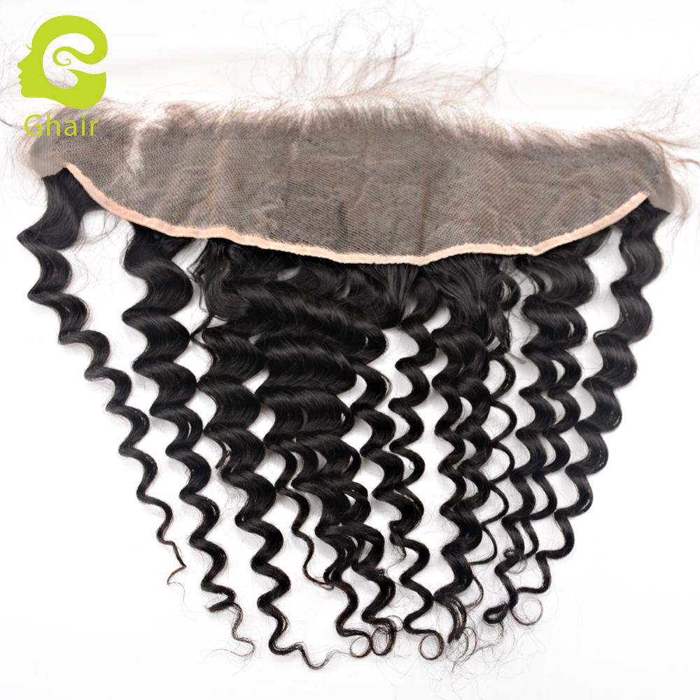 "Factory Transparent lace light brown lace frontal deep wave curly 10"" - 20"""
