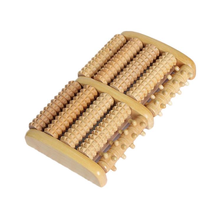 Nuevo y caliente doble rodillo masajeador de <span class=keywords><strong>pies</strong></span>/madera acupresión y reflexología herramienta