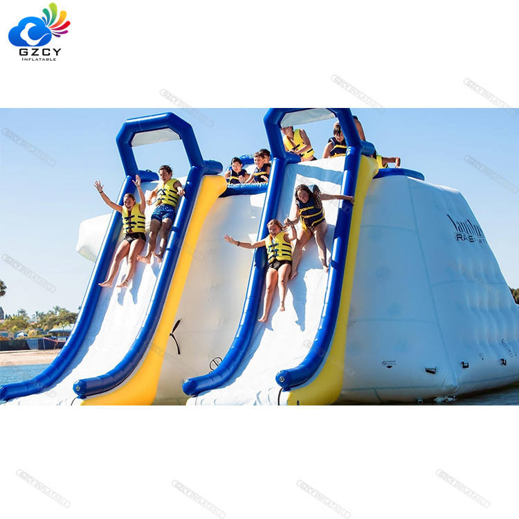 New design water games sea/lake floating water slide for adults and children inflatable floating water slide