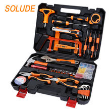 SOLUDE plastic toolbox storage case screwdriver hammer saw wrench socket hardware tools 95 Pieces Hand Tools Set For Household