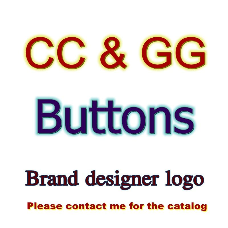 New design custom silver metal CC channel luxury designer logo buttons