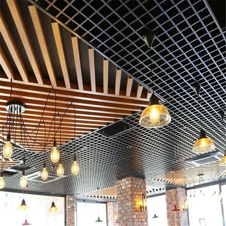 Restoran asma tavan tasarımları u şekli ahşap profil tavan