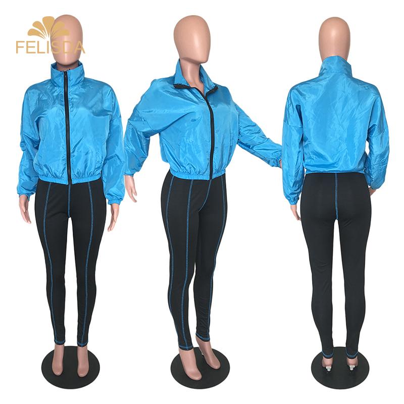Yeni moda kadın giysileri rahat katı renk cepler 2 parça takım elbise seti sonbahar iki parçalı Set kadın giyim fermuarlar