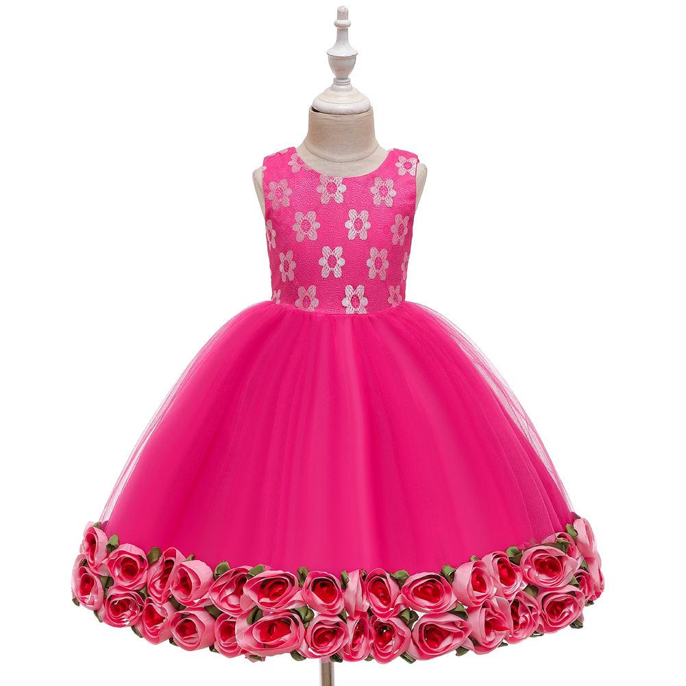 2016 Горячие новые товары девушки frok Детская одежда Цветочные День рождения Дети Девушки Летние платья Дизайн